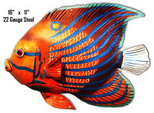 Red Yellow Blue Stripe Tropical Fish Laser Cut Out Metal Sign 11x16