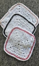 3-Handmade Crochet Face WashCloths Flannel 100% Cotton White Eco Friendly