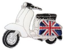 Scooter GB Flag On Side Scooterist Iron/ Sew On Embroidered Cloth MODS Patch NEW