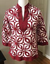 Jones New York Red & White Geometric Print V-neck Cotton Tunic Petite Medium
