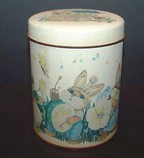 "Vintage Easter Tin Can Bunny Rabbit Music Metal 5"" Eggs Chicks"