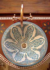 Grand Marocain Peint à La Main Turquoise Rond Évier Lavabo Vasque + Fissures