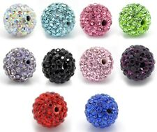 Perle de verre strass cristal ronde LOT DE 10 PERLES CREATION BRACELET SHAMBALLA