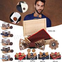 4Pcs/Set Men Bow Tie Handkerchief Cufflink Lapel Flower Wooden Hollow Carved+Box