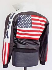 Men's leather Bomber Motorcycle jacket stars & stripes American Flag Biker