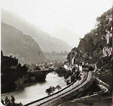 Suisse Pont et Château de Saint-Maurice Lachenal et Favre Stéréo Vintage ca 1865