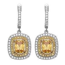 Citrine Drop Earrings 925 Sterling Silver, Love Gift, Yellow Dangle Earrings