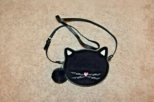 Lily Bloom Black Velvet Cat Face Shoulder Crossbody Purse EUC