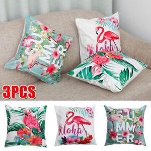 3X Tropical Plant Flamingo Cotton Cushion Garden Outdoor Pillow Case Cover Decor