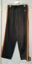 Mens sports pants M Gym Gray 2 Side pockets orange striped loose Athletic Active