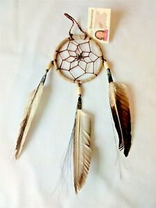 """Authentic Navajo made 3"""" Dream Catcher with a traditional antiqued look."""