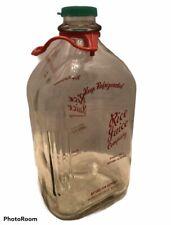 Vintage Rice Juice Glass Bottle 1/2 Gallon Orange Juice Kingsford Michigan