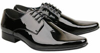 Mens Brand New Black Leather Lined Patent Wedding Shoes Size 6 7 8 9 10 11 12