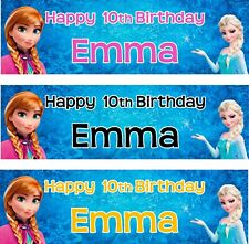 2 PERSONALISED FROZEN BIRTHDAY PAPER PARTY BANNER JUST ADD YOUR  NAME & AGE