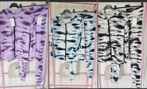 Women's 2 Stripe Hooded Zip Tie Dye Top Leggings Loungewear/Tracksuit Set