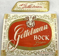 Vintage Gettelman Bock Beer Bottle Can Label 7oz Wisconsin Ram Brewing Neckband