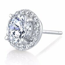 2 Carat Fancy Cubic Zirconia Sterling Silver Stud earrings with micro pave bezel