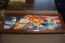 """THE BRADFORD EXCHANGE """"AMERICA THE BEAUTIFUL"""" 4 PLATE SET WITH WOOD FRAME"""