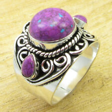 Round, Drop Purple Copper Turquoise ROYAL Ring Size 11 ! Silver Plated Jewelry