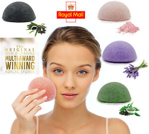 UK Konjac Sponge Face Rub Exfoliating Makeup Acne Baby Skin Pores Oil Scrub Puff
