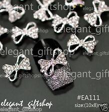 #EA111 10pcs 3D Alloy Jewelry  Nail Art Decoration Bow Knot Glitter Rhinestone