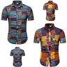 Men's Summer Print Turn-Down Collar Slim Fit Short Sleeve Top Shirt Blouse Tops