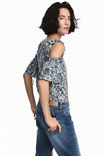 NEW NWT H&M BLUE WHITE FLORAL PAISLEY COLD OFF  SHOULDER BLOUSE TOP XS 8 4 36
