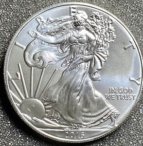 2016 $1 American Silver Eagle 1 oz Gem Brilliant Uncirculated  (Gem BU)