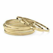PalmBeach Jewelry Set of 7 Bangle Bracelets in Yellow Gold Tone