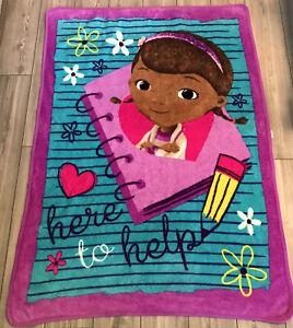 HTF Disney DOC McStuffins Here To Help Purple Fleece Big Throw Blanket Lovey
