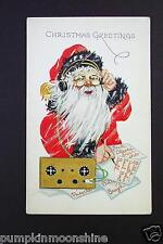 # I 323- Unused Xmas Greeting Post Card Santa Writing Holiday Gift List