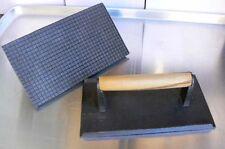 "9""x 5"" Cast Iron Steak Weight,  Wood Handle, Restaurant/ Commercial Grade"