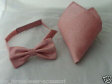 Dusky Pink Pre-tied Mens Polyester Bow tie and Hankie Set>Many Colours Available
