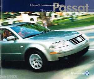 Big 2001 Volkswagen VW PASSAT Brochure / Catalog : GLS,GLX, V6