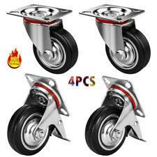 4Pcs 3'' Heavy Duty Caster Set Swivel Wheels With Brake Non No Mark Castors