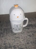"""Rae Dunn """"CHICK MAGNET"""" Mug With Chick Topper Easter LL Brand New Fast Shipping"""