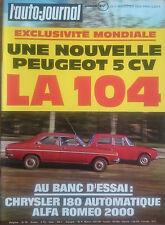 L'AUTO JOURNAL 1972 3 MONTE CARLO CHRYSLER 180 ALFA ROMEO 2000 GP ARGENTINE NSU