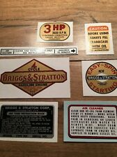 Briggs & Stratton 1961-1963 decal  Aluminum 3-hp Vertical shaft Set of 7