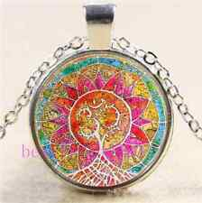 Mandala om Tree of Life Cabochon Glass Tibet Silver Chain Pendant  Necklace