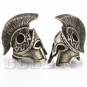 *SPARTAN HELMET*  Bronze / Silver Paracord Knife Leather Lanyard Bead / Beads
