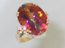 Twilight Fire Topaz w/ 2 Accents, 10KY or 14KY Gold Ladies Ring, R269-Handmade