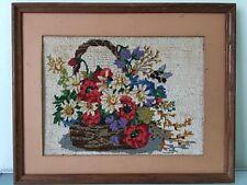 Vintage Framed Hand stitched Needlepoint Sampler Beautiful Flower Basket 21�x17�