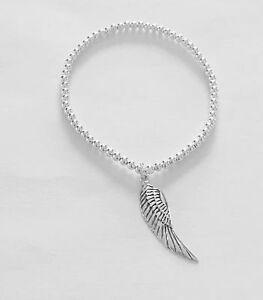 Sterling Silver Beaded Bracelet With Angel Wing Charm. Angel Wing Bracelet