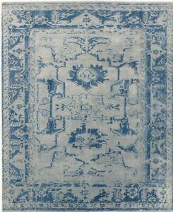 Restoration Hardware Arte Grey / Ocean Blue Hand Knotted Rug 4x6 Wool $1995