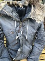 Superdry Surplus Parker Coat Jacket Size Medium Fleece Lined Fur Hood Winter