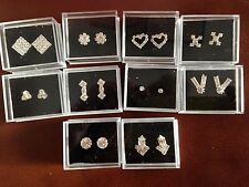 JOB LOT-20 pairs of 10 different styles  gift boxed diamonte stud earrings.