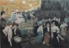 "Large Original Signed MANUEL ROBBE (French) Color Aquatint ""Le Manege""  c. 1905"