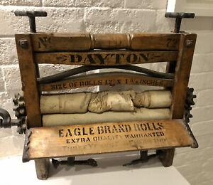 Fabulous Antique Dayton Table Top Wood And Cast Iron Washing Mangle