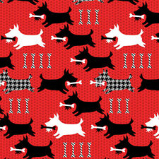 Scotty Skidaddle Quilting Fabric - Red - Scottish Terrier Scottish Charm - BTY
