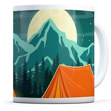 Camp Fire Tent Moon - Drinks Mug Cup Kitchen Birthday Office Fun Gift #16464